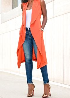 Draped Vest - Orange, with White Top, Skinny Jeans & Pumps Outfits Mujer, Vest Outfits, Casual Outfits, Cute Outfits, Casual Wear, Look Fashion, Fashion Outfits, Orange Vests, Look Office