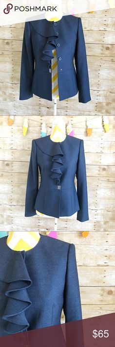 """Anne Klein blue ruffled blazer suit Beautiful blazer, can be worn day and night. No flaws, pristine like new. Collarless with rufffled front design. 4 button closure plus 2 snap button. No pockets. 74% polyester 24% rayon 2% spandex padded shoulders. 23"""" long arms is 24"""" long. A to a is 17.5"""" Anne Klein Jackets & Coats Blazers"""
