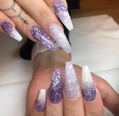 Acrylic Nail Designs Glitter acrylic nail designs glitter purple white nails glitter nail design fashion black gold nail art design wonderful gold sparkle 17 white and silver glit. Acrylic Nail Designs Glitter, Coffin Nails Glitter, Purple Nail Designs, Gel Acrylic Nails, Glitter Acrylics, Nail Art Designs, Gel Nails, Gel Designs, Purple Nails