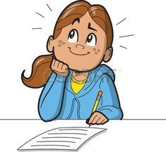 School Girl Clipart Schoolgirl Or Woman Taking A Test Or Filling Out A Form Or Survey