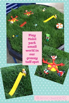 We grew grass in our tuff spot a few weeks ago. This week we will be using it as a small world park. EYFS