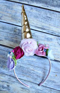 Whimsy Unicorn Headband, Unicorn Floral Headband, by TheSugarCreekShoppe on Etsy