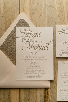 NICOLE Suite Glitter Package, blush and gold, letterpress wedding invitations, gold glitter, glitter wedding invitations, beautiful script wedding invitations