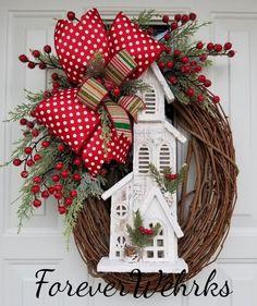Church Christmas Decorations, Christmas Wreaths For Front Door, Holiday Wreaths, Christmas Diy, Holiday Decor, Country Christmas Crafts, Christmas Stencils, Christmas Stuff, Holiday Ideas