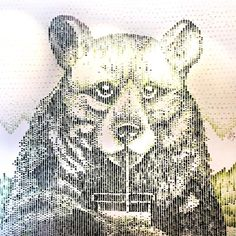 mural of a bear painted with celery sticks dipped in green paint! Illustration Art, Illustrations, Installation Art, Celery, Sticks, Spoon, Dips, Packaging, Graphics