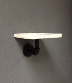 Distressed white industrial steel pipe shelf (shabby chic)