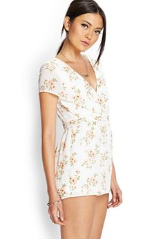 Pleated Floral Surplice Romper | FOREVER21 - 2000061571