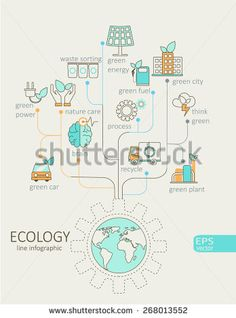 Flat linear Infographic Eco concept. Tree with earth, nature, green, recycling, bicycle, car and home icon. Outline concept.Vector Illustration. - Shutterstock Premier