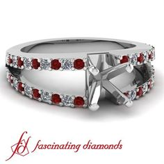 Pave Set Diamond Split Band Engagement Ring W Round & Ruby Diamonds
