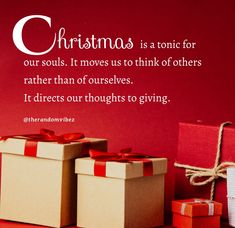 Christmas is a tonic for our souls. It moves us to think of others rather than of ourselves. It directs our thoughts to giving. #Christmasquotes #Merrychristmasquotes #Shortchristmasquotes #2020Christmasquotes #Merrychristmas2020quotes #Christmasgreetings #Inspirationalchristmasquotes #Cutechristmasquotes #Christmasquotesforfriends #Warmchristmaswish #Bestchristmasquotes #Christmasbiblequote #Christmaswishesforfamily #Christmascaption #Merrychristmasimages #Merrychristmaspicture #therandomvibez Christmas Wishes For Family, Short Christmas Quotes, Christmas Quotes For Friends, Merry Christmas Pictures, Christmas Bible, Christmas Greetings, Christmas Captions, Cute Instagram Captions, Caption For Yourself