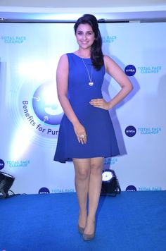 Looking radiant in a stylish blue dress, Parineeti Chopra confidently posed for the cameras. #Bollywood #Fashion #Style
