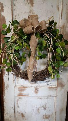 Front door wreath, Greenery Wreath - Wreath Great for All Year Round - Everyday Burlap Wreath, Door Wreath, Front Door Wreath by FarmHouseFloraLs on Etsy