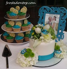 """cupcakes with monogram cookie and 6"""" cake"""