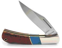 Boker Magnum Folding Knife with Turquoise and Wood Handle