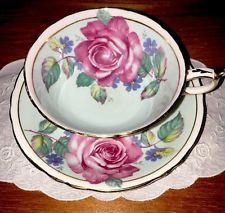 Lovely Paragon Tea Cup And Saucer Light Blue Large Cabbage Rose