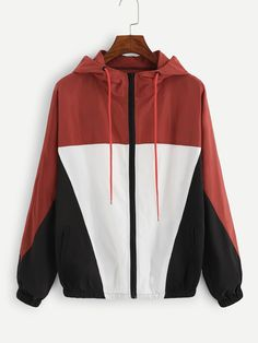 Shop Color Block Drawstring Hooded Jacket at ROMWE, discover more fashion styles online. Cute Casual Outfits, Pretty Outfits, Urban Outfits, Fashion Outfits, Streetwear Jackets, Stylish Hoodies, Love Clothing, Urban Fashion, Dream Closets