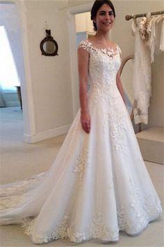 A-line Lace Tulle Wedding Dresses 2018 Vestido de noiva Buttons Elegant Bride Dress