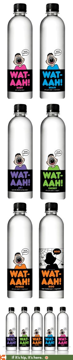 All the WAT-AAH! brand water bottles including their special Halloween themed bottle for 2013.