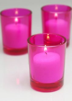 Hot Pink Glass Votive Candle Holders
