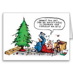 Xmas Tree Fight Holiday Card