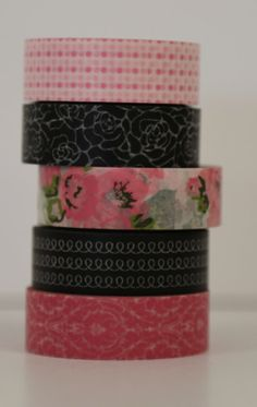 Pink, Black and Roses Washi Tape - Set of 5 Rolls Each 15mm x 10m