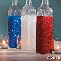 Patriotic Crafts for Adults | Patriotic Glitter Jars