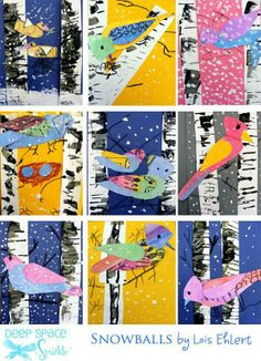 birch trees and birds