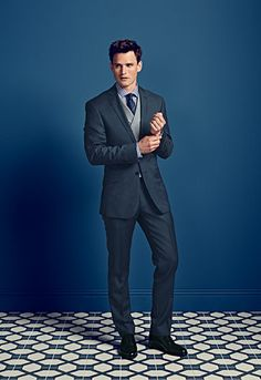 Charles Tyrwhitt - a slim fit business suit worn with a classic fit morning suit waistcoat