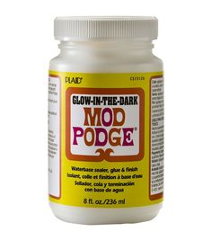 Plaid:Craft-Mod Podge Glow In The Dark. Use as a waterbase sealer, a glue or a finish. This package contains one 8oz jar of Glow in the Dark Mod Podge. Conforms to ASTM D 4236. Non-toxic. Made in USA.