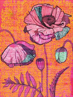 pink poppies with orange background