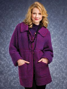 Knitting - Patterns for Wearables - Jacket & Coat Patterns - Raised Ridges Jacket