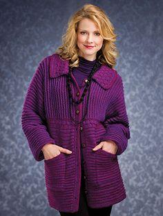 Knitting - Patterns for Wearables - Jacket & Coat Patterns - Raised Ridges Jacket
