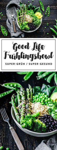 Unsere super-grüne Frühlingsbowl ist voll mit dem Besten, was der Frühling hergibt, vielen Proteinen und Vitaminen und einem genial-einfachen Dressing.