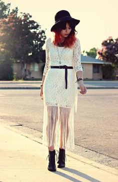 Shop this look on Kaleidoscope (dress, hat, boot)  http://kalei.do/WKNMH1jDIMV57J9Q