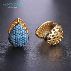 MECHOSEN Elegant Turquoise Stud Earrings Gold Plated Love Heart Copper Brincos Jewelry CZ Zirconia Rhinestone Women Bijouterie