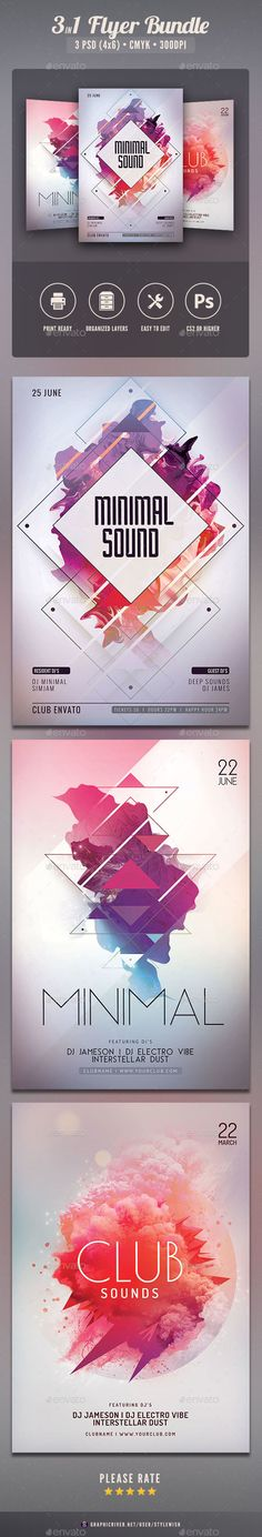 Minimal Flyer Bundle — Photoshop PSD #light #progressive • Available here → https://graphicriver.net/item/minimal-flyer-bundle/19806806?ref=pxcr