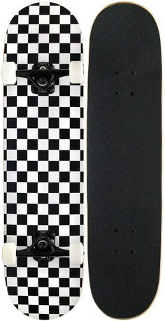 KPC Pro Skateboard Complete, Black and White Checker Painted Skateboard, Skateboard Deck Art, Penny Skateboard, Skateboard Design, Skateboard Girl, Pro Skateboards, Complete Skateboards, Skater Girl Outfits, Skate Girl