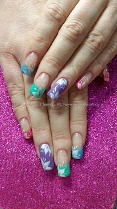 Eye Candy Nails & Training - Multi coloured pastels with white freehand flower nail art by Elaine Moore on 19 January 2016 at One Stroke Nails, Gel Nail Extensions, Flower Nail Art, Gel Nails, Swarovski Crystals, Eye Candy, January 2016, Eyes, Pastels