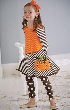 From CWDkids: Pumpkin Chevron Dress Set