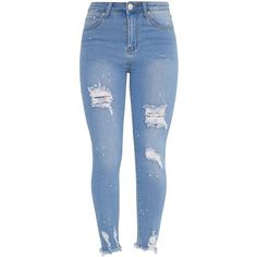 Light Wash Bleach Splatter Distress High Waisted Skinny Jean ($44) ❤ liked on Polyvore featuring jeans, pants, bottoms, distressed jeans, skinny jeans, blue jeans, high rise skinny jeans and blue skinny jeans