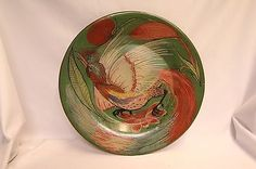 Tlaquepaque Mexican Colorful Grabber Bird Flowers over Green Pottery Plate