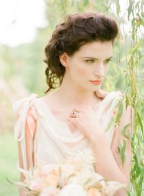 Ireland Photo Shoot at Castle Leslie by KT Merry  A divine soft wedding hair do and a draped wedding gown.     Photo Shoot Venue: Castle Leslie in Glaslough, Ireland / Styling: Ciara O'Halloran of Style Serendipity / Floral Design + Garlands: Carrie O'Connor of Best of Buds Flowers and Events / Wedding Dresses: Samuelle Couture + Jenny Packham via Chic Parisian / Engagement Ring: Keanes Jewellers / Hair: Kelly McLean of The Vintage Bride / Makeup: Jennifer Ireland