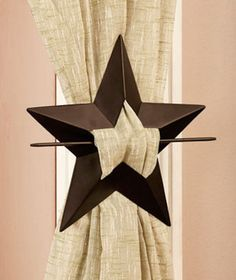 "Curtain Tieback Set Of 2 Steel 8"" Stars Rustic Country Look Decor Any Room Cabin #NotBranded"