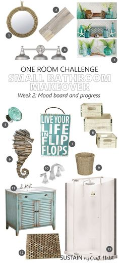 Touches of Teal coastal cottage mood board | Small bathroom remodel | Beach theme bathroom ideas and mood board | Spring 2017 One Room Challenge by Sustain My Craft Habit