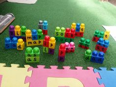 Supporting literacy in young children by using Megabloks. Sounding out set finished. Phoneme's and Grapheme's to follow!