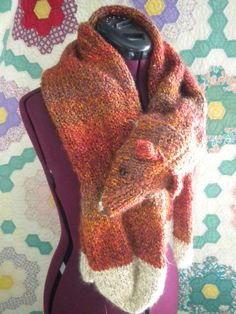 ea568729079 Red knitted faux fox stole by aCleverYarn on Etsy