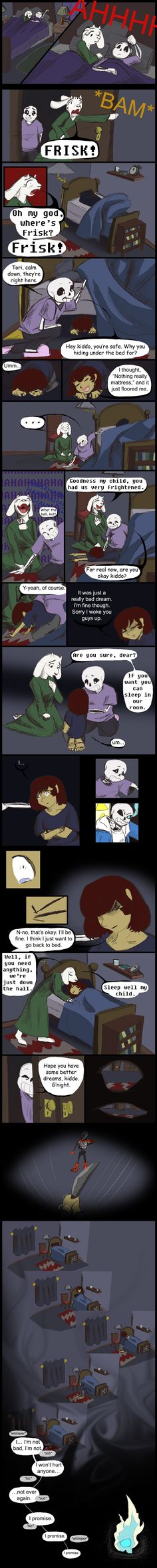 """Warning: Undertale AU My take on the """"Frisk has a nightmare about the genocide run."""" I really like the fan theory that Chara's spirit . Undertale: A puppet remembers their strings Sans X Frisk, Undertale Love, Undertale Memes, Undertale Comic, Fnaf, Toby Fox, Bad Timing, The Villain, Yandere"""