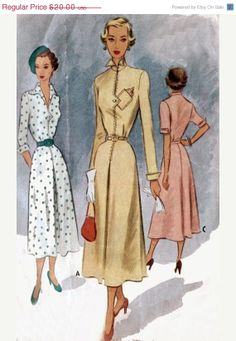 On SALE Vintage 40s Sewing Pattern McCll 7685 DECO STYLE Fitted Day Dress Size 14 Bust 32