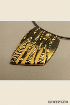 Black and gold polymer clay designer pendant Big impressive jewelry Party bright necklace by GlArtJewelry on Etsy