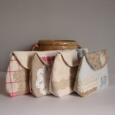Roxy Creations: New antique linen pouches